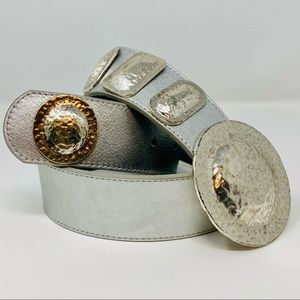CHICO'S Silver Metallic Leather Belt w Metal Disks